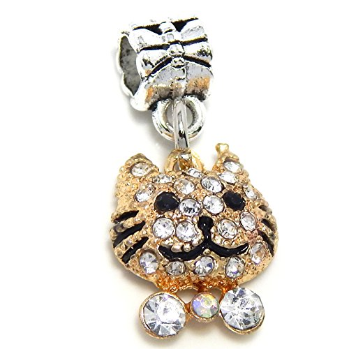 Rhinestone Cat Charm - Silver Plated Gold Tone Dangling