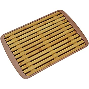 Surpahs Bamboo Fiber Bread Cutting Board with Crumb Catcher Tray (12 by 9 Inches)