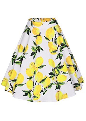 Falda plisada del patín de la falda de la alta cintura de las mujeres floral / de los lunares Limón blanco