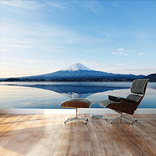 Mt Fuji and reflection on a perfectly smooth lake Landscape Wall Mural