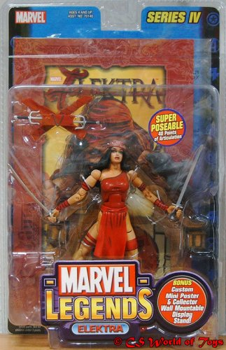 Marvel Legends, Series IV: Elektra 6.5-inch Poseable Figure with Large Card