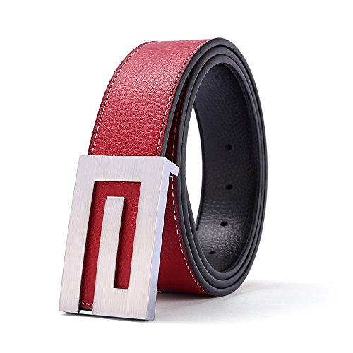 Men's Red Genuine Leather Dress Belt with Removable Silver Smooth Buckle Gift Box, 43