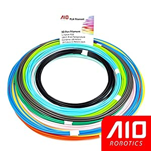AIO Robotics Sample PLA 3D Pen/Printer Filament, 16 colors, 10 foot per color, Dimensional Accuracy +/- 0.02 mm, 1.75 mm by AIO Robotics