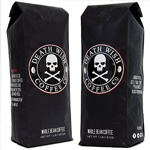 Death Wish Uncut Bean Coffee Bundle Deal, The World's Strongest Coffee, Fair Trade and USDA Certified Organic - 1 LB(16 oz) - (Fill of 2)
