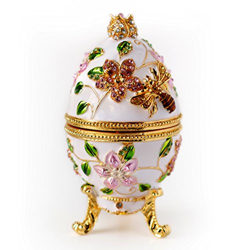 Box Trinket Flower Enamel - Apropos Hand- Painted Vintage Style Bee and Flowers Faberge Egg with Rich Enamel and Sparkling Rhinestones Jewelry Trinket Box (White)