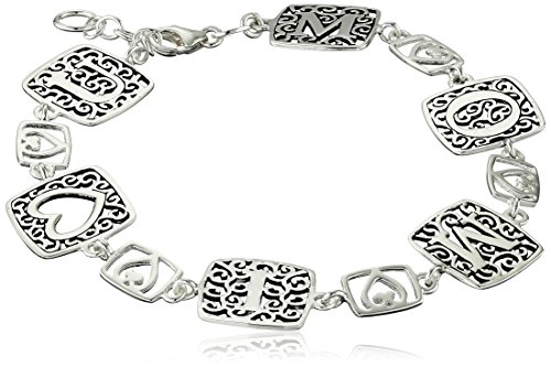 Sterling Silver Filigree''Mom'' Link Bracelet, 8'' by Amazon Collection