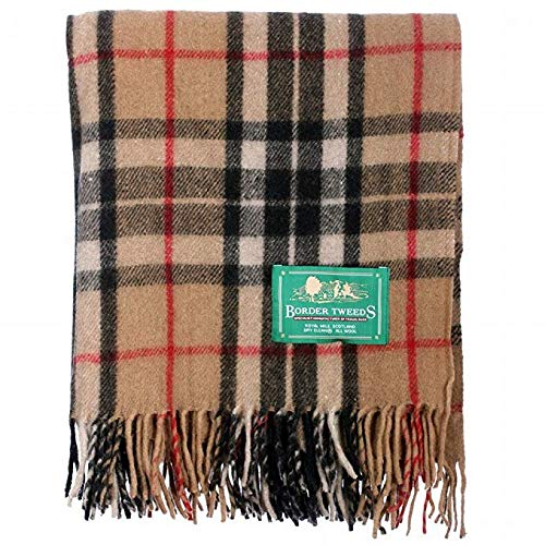 (Border Tweeds 100% All Wool Scottish Tartan Multicolour Picnic Blanket Bed Throws Checked Rugs (Thomson Camel))