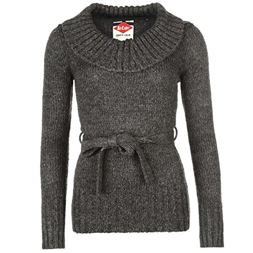 Lee Cooper Womens Belted Cowl Knit Jumper Sweater Pullover Long Sleeve Neck Warm Charcoal 14 ()