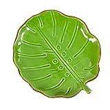 Cypress Home Palm Leaf Ceramic Appetizer Plate