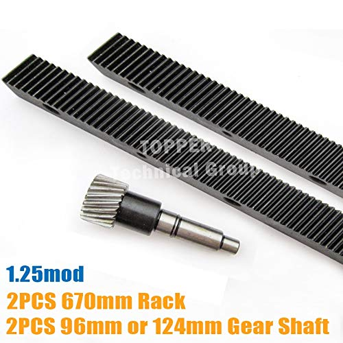 (Fevas 1.25 mod helical Teeth Gear Rack Steel 670mm with Gear Shaft)