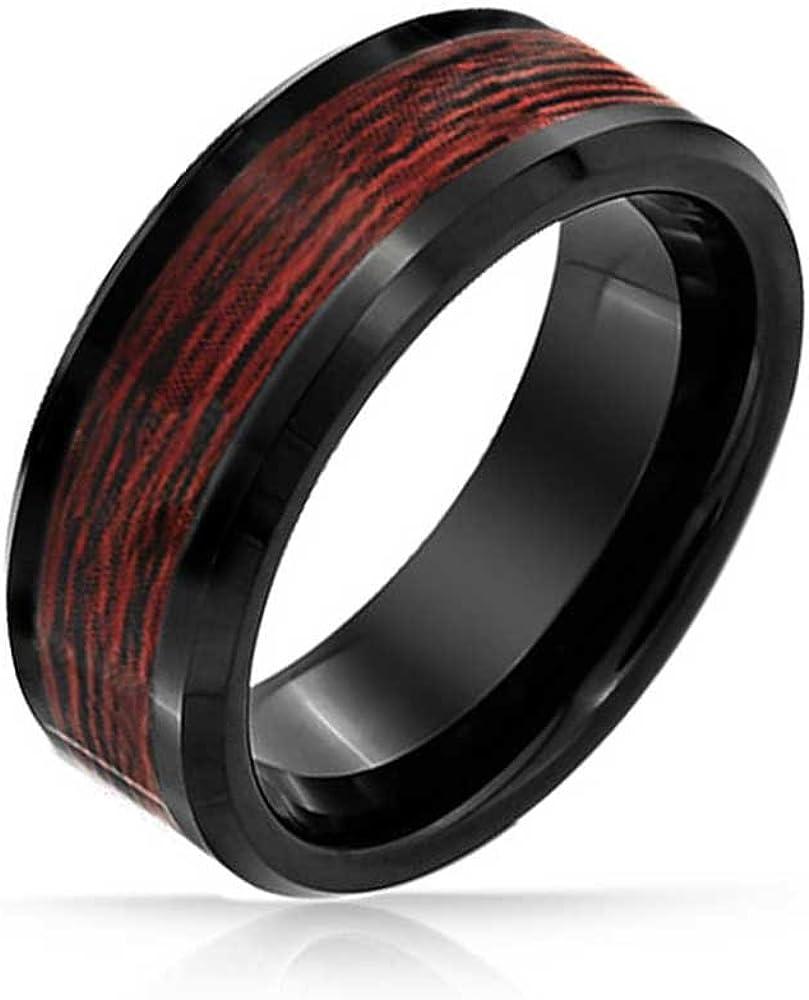 Bling Jewelry Negro En Madera Koa Banda Boda Anillos De Tungsteno para Hombres Y para Mujer Comfort Fit 8Mm