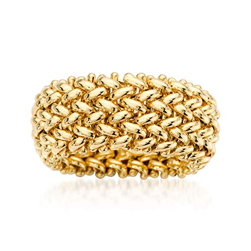 Ross-Simons Italian 14kt Yellow Gold Beaded Mesh Ring - Mesh Yellow Ring