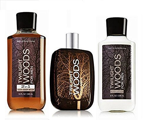 Bath & Body Works Twilight Woods for Men Cologne Gift Set Cologne Spray ~ Body Lotion & 2 in 1 Hair Body Wash Lot of 3 Full Size