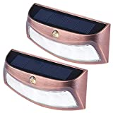 Solar Deck Lights, Outdoor 4 LED Step Light Waterproof Security Stair Lamps for Pathway Yard Wall Walkway Garden Driveway (Cool White, 2 Pack)