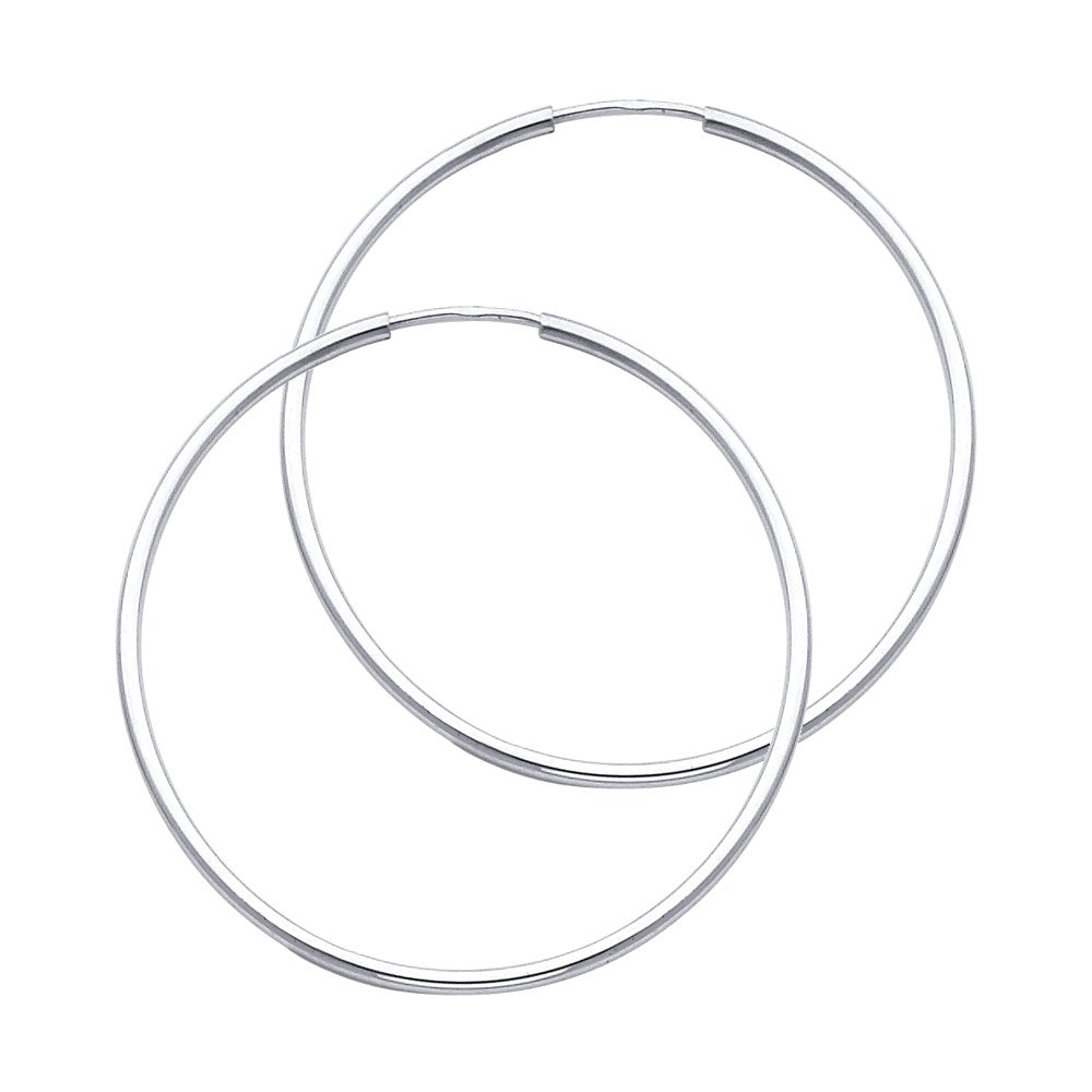 14k Yellow Gold 1.5mm Thick Round Tube Endless Hoop Earrings High Polished, 35mm