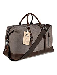 Travel Duffel Bag Tote Canvas Leather (Coffee)