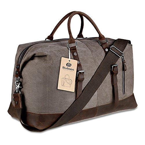 Canvas Overnight Bag Weekender Tote Genuine Leather Travel Duffel (Coffee)