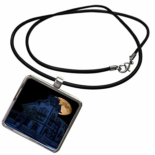3dRose Visual Edges Architectural - Cape May Victorian lit at night by a full moon - Necklace With Rectangle Pendant - May Cape Victorian