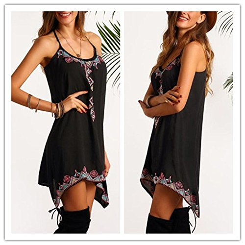 aiNMkm Women Dress,2019 Boho Sexy Women Sleeveless Party Summer Beach Short Mini Dress Black by aiNMkm (Image #1)