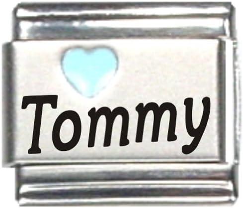 Tommy Light Blue Heart Laser Name Italian Charm Link
