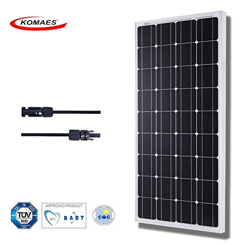 Komaes Solar Panel 100w - Monocrystalline Solar Panel 12 V Charger With Mc4 Connector For Deep Cycle Battery - Perfect For Residential, Industrial, Rv, Boat, Off Grid Installation