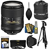 Nikon 18-300mm f/3.5-6.3G VR DX AF-S Nikkor-Zoom Lens + 3 Filters + Pistol Grip Tripod + Pouch Kit for D3200, D3300, D5300, D5500, D7100, D7200 Camera