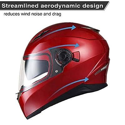 AHR DOT Motorcycle Full Face Helmet Dual Visors Sun Shield Lightweight ABS Street Bike Motorbike Touring: Automotive
