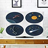 Analisahome tv Protective Cover Space Stars Constellations Galaxies and Comets Solar System Vector Flat tv Protective Cover W35 x H55 INCH/TV 60''