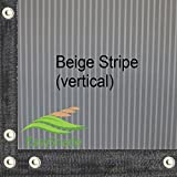 Easyshade Beige Stripe 6ft x 14ft Heavy Duty Mesh Fabric Edges & Grommets Shade for Patio Canopy Awnings