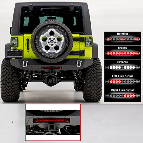 Restyling Factory -Rock Crawler Rear Bumper w/RED Lens 3rd Brake, Reverse, Turn Signal, Running Light LED Light Bar and 2