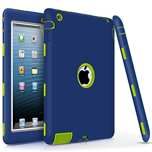 iPad 2 / 3 / 4 Case, DUEDUE Heavy Duty Rugged Shockproof & Drop Resistance Anti-slip Soft Silicone Full Body Protective Case Cover for 9.7 iPad 2nd / 3rd / 4th Generation, Navy Blue&Green
