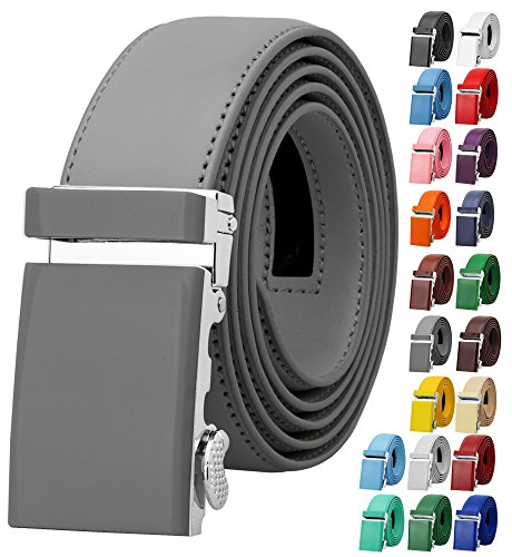 Falari Men Unisex Genuine Leather Ratchet Dress Belt Automatic Sliding Buckle - 20 Variety Colors - Trim to Fit