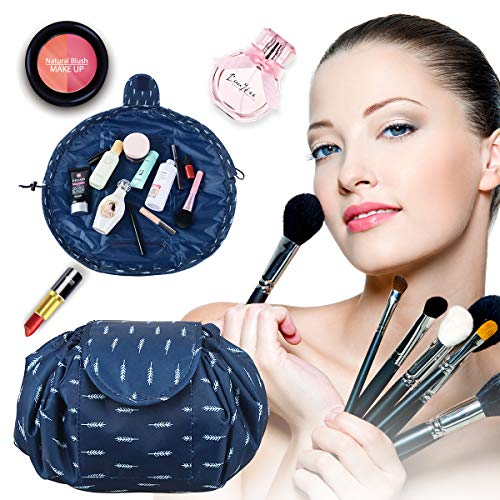 Drawstring Makeup Bag Drawstring Pouch Chic Non-watertight Portable Large Capacity Quick Easy Pack Round Cosmetic Storage Bag Toiletry Bags for Storage (Deep Blue)