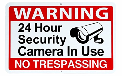 1 Pc Sublime Popular Warning 24 hour Sign No Trespassing Security Yard Video Surveillance Size 11