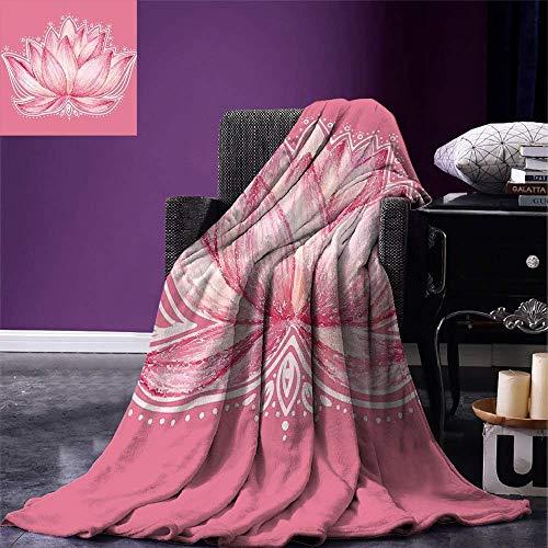 (PENGTU Floral Warm Microfiber All Season Blanket Lotus Flower Meditation Yoga Plant Asian Zen Petal Spiritual Icon Chakra Print Print Artwork Image£¬Multicolor, Baby Pink)