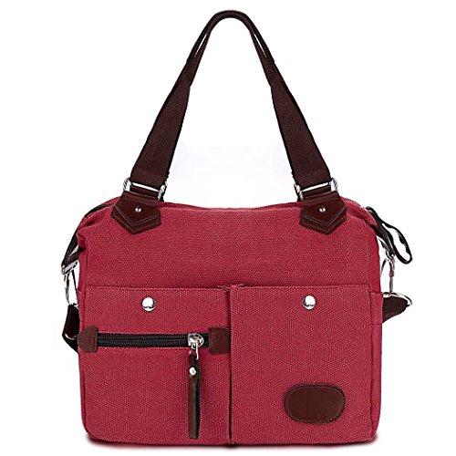 Bolsa mensajero - All4you multifuncional lona moda señoras bolsos de hombro Handbag(Green) Rojo