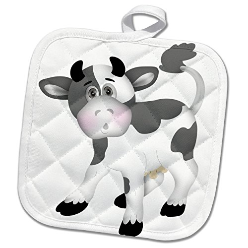 3dRose Anne Marie Baugh - Illustrations - Cute Gray and White Cow Illustration - 8x8 Potholder (phl_267684_1)