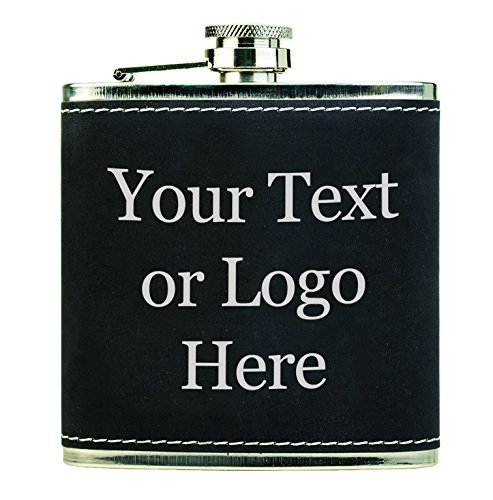 (Customized 3D Laser Engraved Personalized 6 oz. Stainless Steel Custom Flask (Black Leather))