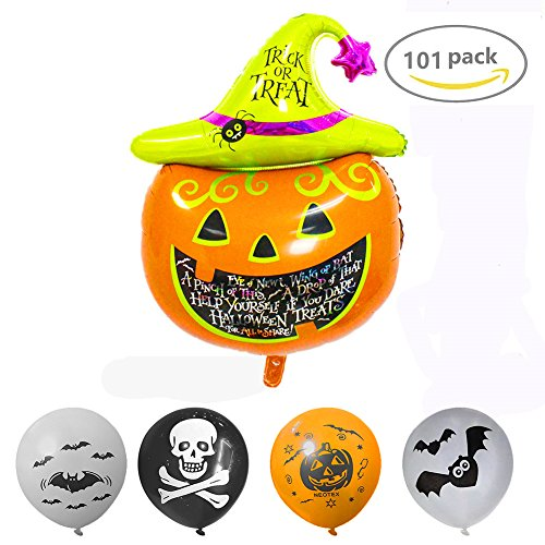 Koogel 101 PCS Happy Halloween Day Party Balloons And Halloween Pumpkin Hydrogen Balloons for Party Decoration / Birthday / Theme Party / (Punch For Halloween Party)
