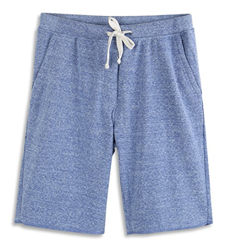 HARBETH Men's Casual Soft Cotton Elastic Fleece Jogger Gym Active Pocket Shorts Blue Melange XL (Casual Men Xl)