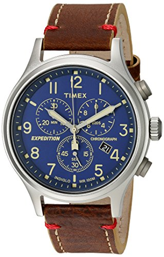 (Timex Men's TWC013900 Expedition Scout Chrono Blue/Brown Leather Strap Watch)