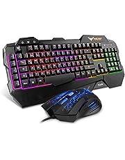 HAVIT Gaming Tastatur und Maus Set, LED Hintergrundbeleuchtung QWERTZ (DE-Layout), 7 Tasten Gaming Maus mit 4 LEDs als Beleuchtung (800/1200 / 1600/2400 DPI einstellbar)