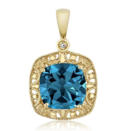 10K Yellow Gold Cushion London Blue Topaz and Diamond Accent Necklace 2.74 cttw by Gem Stone King