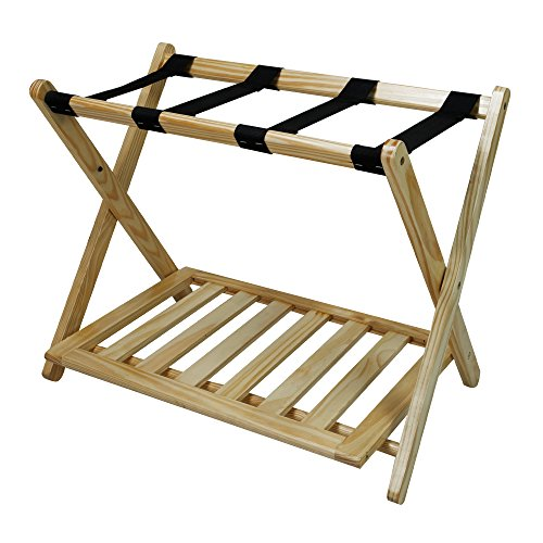 Casual Home Luggage Rack with Shelf, Natural -