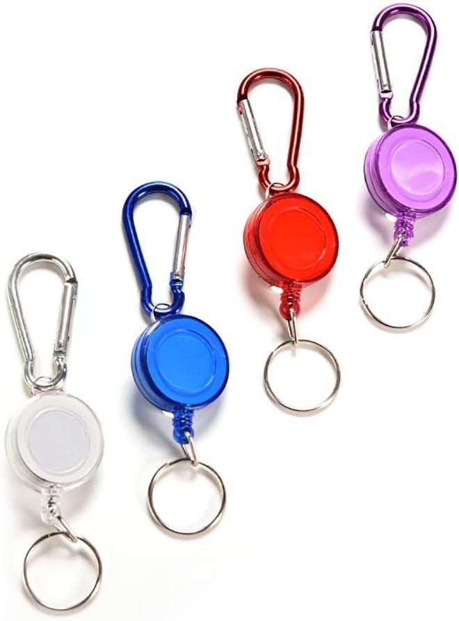 plastica taglia unica Nuohuilekeji Porta badge//ID retrattile skipass moschettone a strappo anello portachiavi Nero