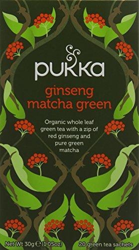 Ginseng Matcha Green Tea Bags - Organic & Fair Red Ginseng, Sencha Green...