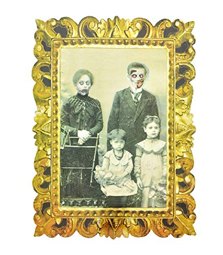A&T Designs Halloween Lenticular Victorian Family Portrait - Plastic Decoration for Party Haunted House - Scary Creepy Eerie Spooky Bloody Vintage Look (Style B) ()