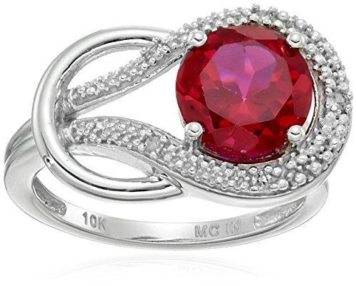 Created Ruby and Diamond Accent Love Knot Ring in 10k White Gold, Size ()
