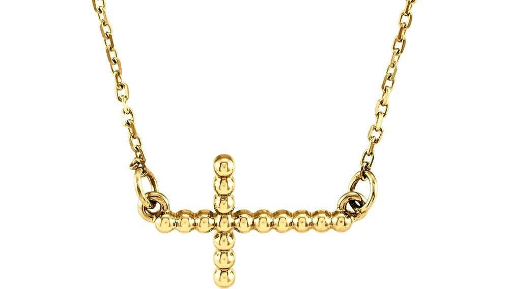 FB Jewels 14K Yellow Gold 12.05x19.5mm Sideways Beaded Cross 16.5 Necklace