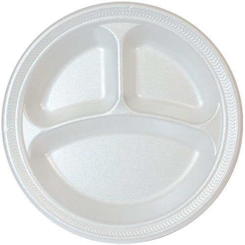 10 Inch White Foam Fast Food Plates, 3 Compartment Divided Lunch Plate, Dinner Plate, Appetizer Plate - 100 Count
